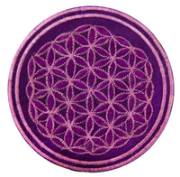 purple flower of life patch lila application small size embroidery for sew on sacred geometry Drunvalo Melchizedek