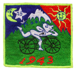 Bicycle Day Patch Albert Hofmann 1943 LSD Psychedelic Hippie Leary 3.5 inch embroidery for sew on goa trance festival wear outfit