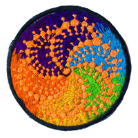 Milk Hill cropcircle embroidery patch for sew on - 3.5 inch - blacklight glowing - sacred geometry - crop circle was with 300 meter diameter