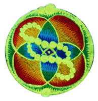 DNA healing crop circle patch - 3.5 inches blacklight glowing sew on embroidery - sacred geometry of healing life through the flower of life