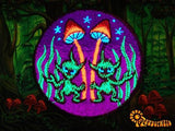 Alien Magic Mushroom patch 3.5 inch size psilocybin planet shroom blacklight glowing sew on embroidery psychedelic goapatch Maria Sabina art