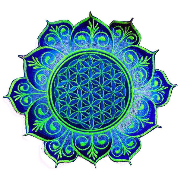 Blue Flower of Life embroidery patch for sew on - holy geometry sacred healing flower mandala