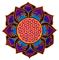 UV orange purple Flower of Life embroidery for sew on - holy geometry sacred blacklight glowing patch