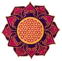 UV orange maroon Flower of Life embroidery for sew on - holy geometry sacred blacklight glowing patch