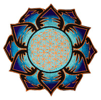 UV orange lightblue Flower of Life embroidery for sew on - holy geometry sacred blacklight glowing patch