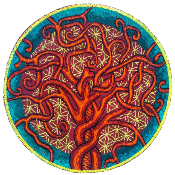 Flower of Life Tree of Life sacred geometry embroidery art patch blacklight glowing uv active for sew on machine washable ironable