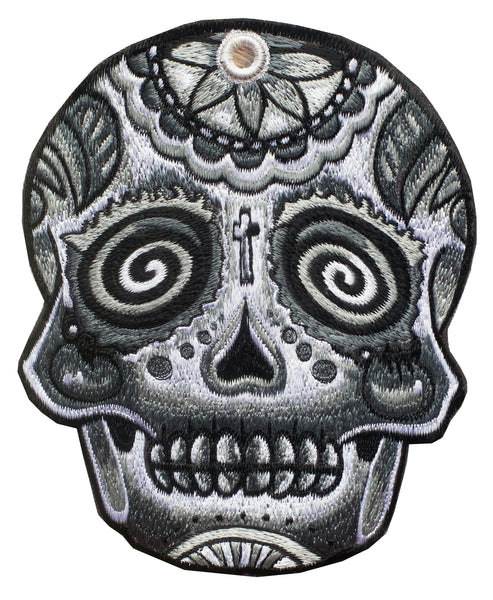 Mirror Skull gray Patch psy patch psychedelic deadhead artwork black and white embroidery