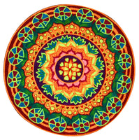 Psychedelic Sun mandala embroidery patch artwork blacklight glowing high detail beautiful colors