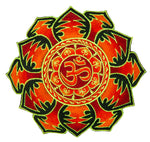 Red flower Aum Mandala patch goa embroidery blacklight glowing cosmic music art