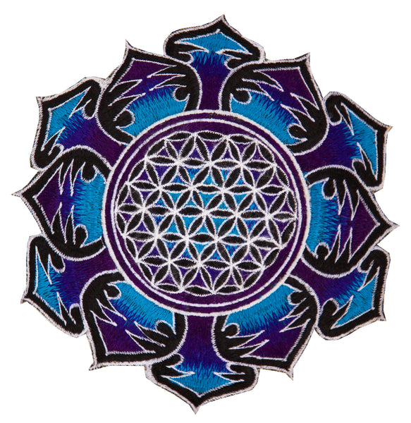 Blue white Flower of Life embroidery patch for sew on - holy geometry sacred healing energy art