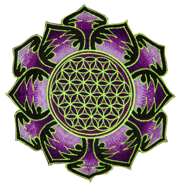Purple white Flower of Life embroidery patch for sew on - sacred geometry art