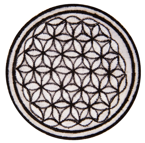 black white flower of life patch small size with variations