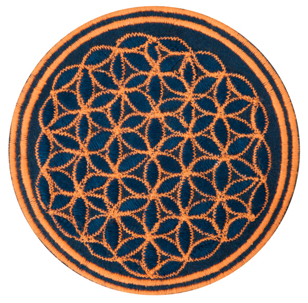 Turquese UV orange flower of life patch sacred geometry embroidery for sew on