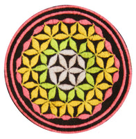 blacklight glowing black flower of life patch sacred geometry embroidery for sew on