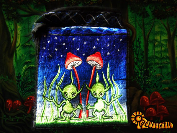Alien Bag psychedelic shoulderbag goa trance embroidery magic mushroom aliens blacklight glowing