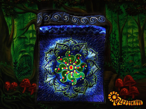 Tidcombe crop circle shoulder bag blacklight glowing sacred geometry mandala handbag