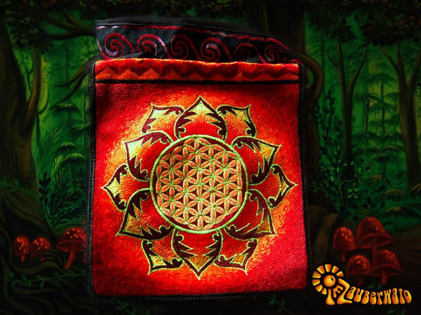 Red flower of life shoulderbag blacklight glowing handbag sacred geometry mandala
