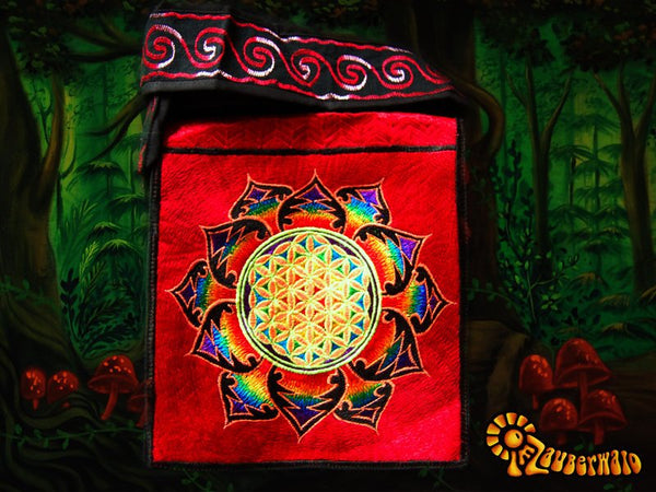 Red rainbow flower of life shoulderbag blacklight glowing handbag sacred geometry mandala