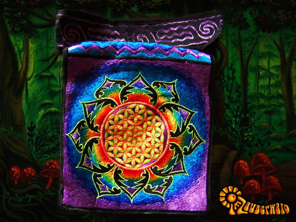 Purple rainbow flower of life shoulderbag blacklight glowing handbag sacred geometry mandala