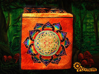Orange rainbow flower of life shoulderbag blacklight glowing handbag sacred geometry mandala