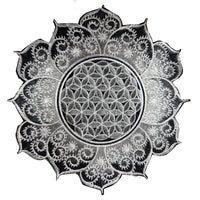White gray Flower of Life fractal mandala holy geometry patch sacred geometry art for sew on