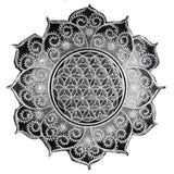 White gray Flower of Life celtic mandala holy geometry patch sacred geometry art for sew on