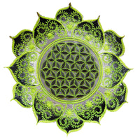 White UV yellow Flower of Life fractal mandala holy geometry patch sacred geometry art for sew on