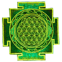 Green flower of life yantra sacred geometry patch holy healing information art