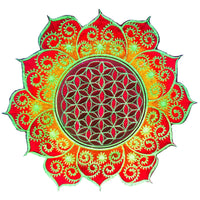 fractal Flower of Life red mandala holy geometry patch sacred art
