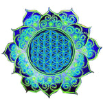 blue Flower of Life caleidoscope mandala holy geometry patch sacred art