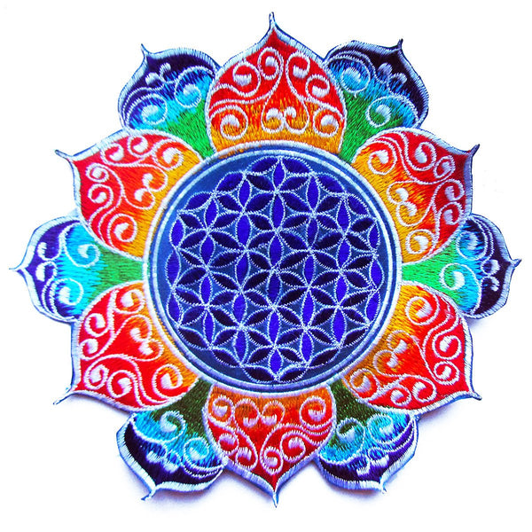 celtic Flower of Life rainbow mandala holy geometry patch sacred art