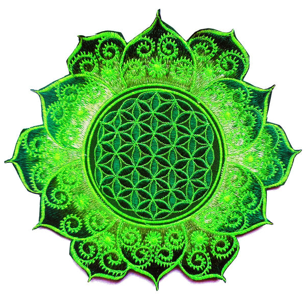 caleidoscope Flower of Life green mandala holy geometry patch sacred art