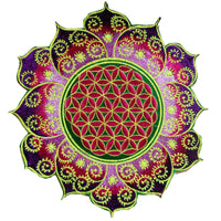 Green Purple Flower of Life holy geometry patch mandala sacred geometry embroidery art for sew on