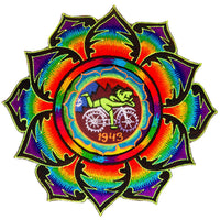 Rainbow LSD Bicycleday Mandala blacklight Goa Patch 1943 Psychedelic Fractal Acid Trip Hippie Visionary Medicine Albert Hofmann Bicycle Day