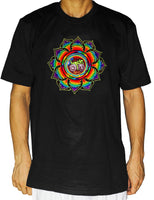 Rainbow Hofmann LSD T-Shirt Bicycle Day blacklight handmade embroidery no print goa tshirt psychedelic Bicycleday Goa Trance Mandala art
