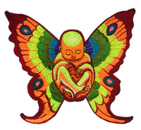 Baby Buddha butterfly patch big size rainbow colors blacklight glowing consciousness expending art