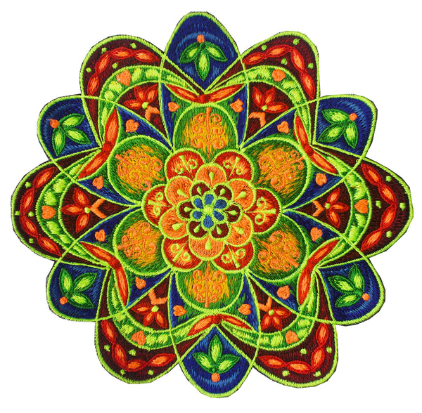 Flower Mandala embroidery patch blacklight glowing magnificent psychedelic art