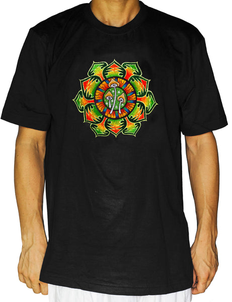 Green Magic Mushroom T-Shirt Shrooms Mandala handmade embroidery yantra goa tshirt psychedelic psy trance shirt Mckenna mandala