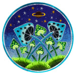 Fluro Mushroom Planet green & blue Patch Psychedelic Psilocybin Shroom goa trance embroidery art