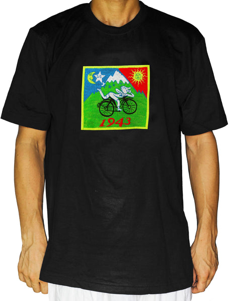 Original Bicycle Day T-Shirt LSD Albert Hofmann art handmade embroidery no print psychedelic goa tshirt hippie shirt