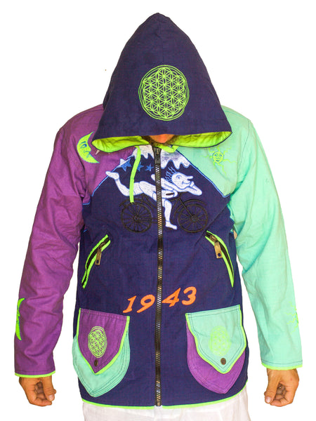 Albert Hofmann Bicycle Day UV jacket Lila Purple Turquese - blacklight active 4 pockets with hood and flower of life embroidery