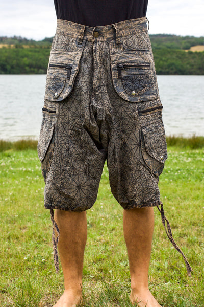 Asanoha Hemp pattern Pants - 2 in 1 Flower of Life shorts and long pants - 9 pockets handmade sacred cannabis geometry clamdiggers