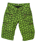 Green Flower of Life Clamdiggers with many pockets - intelligent 2 in 1 shorts or long pants - handmade comfortable sacred geometry pattern