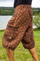 Brown Flower of Life Pants - sacred geometry pattern shorts - 9 pockets handmade long and short pants  size adjustable with 2 buttons