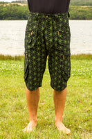 green Flower of Life Pants with many pockets - intelligent 2 in 1 shorts or long pants - handmade comfortable sacred geometry pattern