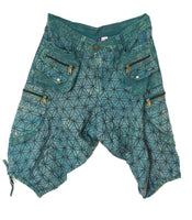 Blue Flower of Life Pants Pants - sacred geometry pattern shorts - 9 pockets handmade long and short pants  size adjustable with 2 buttons