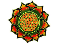 Green Flower of Life mandala holy geometry patch sacred art
