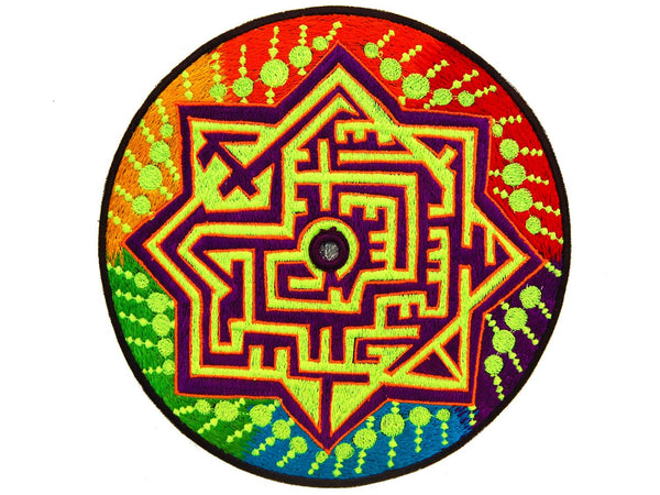 Mirror Labyrinth Patch blacklight active rainbow fractal