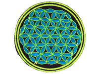 blue flower of life patch medium size healing geometry sacred art