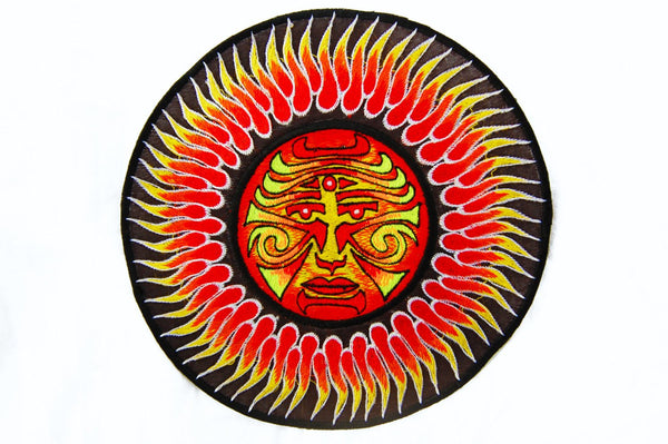 Sun Face Mandala Patch blacklight active